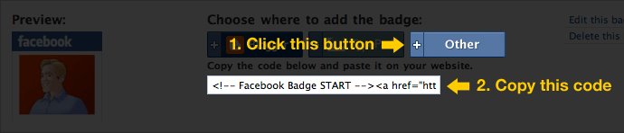 Facebook Badge instructions